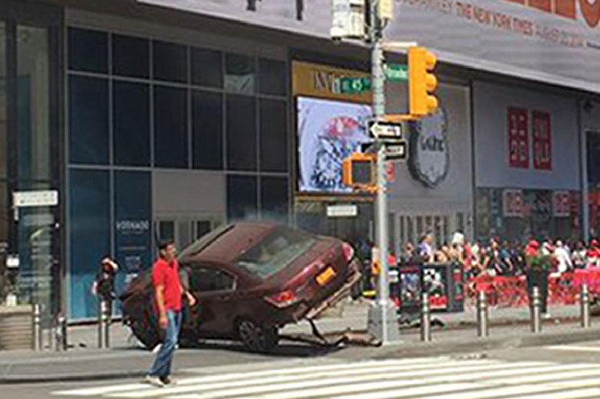 The scene in Times Square,