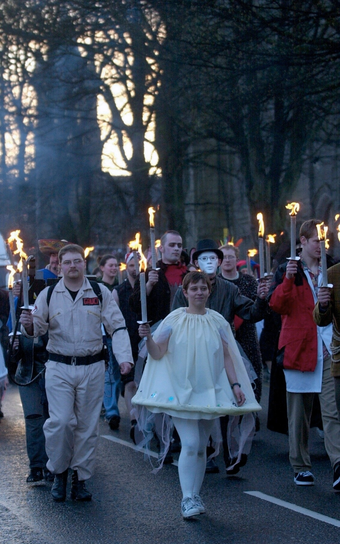 Aberdeen students torcher parade heads down Albyn Place. Pic by Raymond Besant.