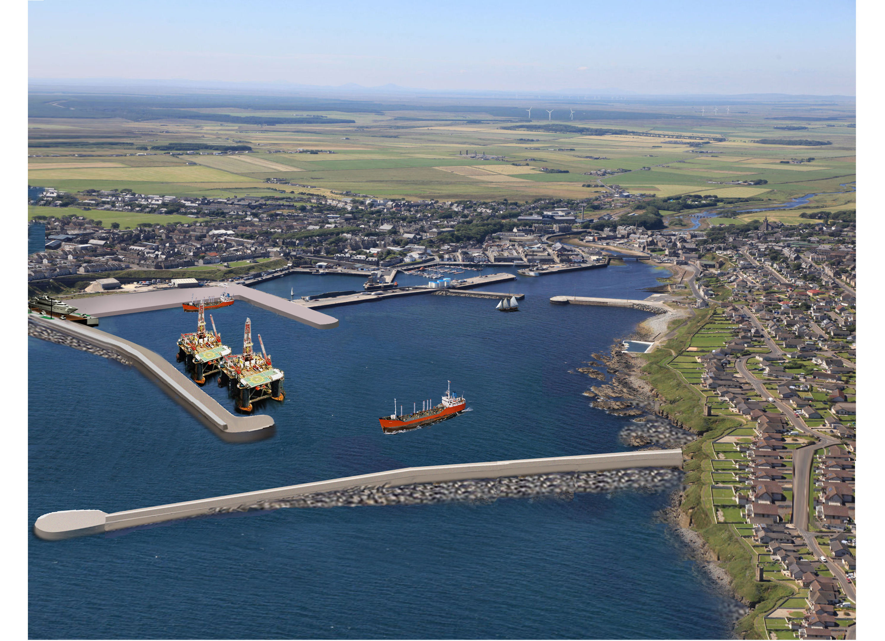 An artist's impression of what Wick Harbour could look like if the ambitious £100 million blueprint for the port becomes a reality.