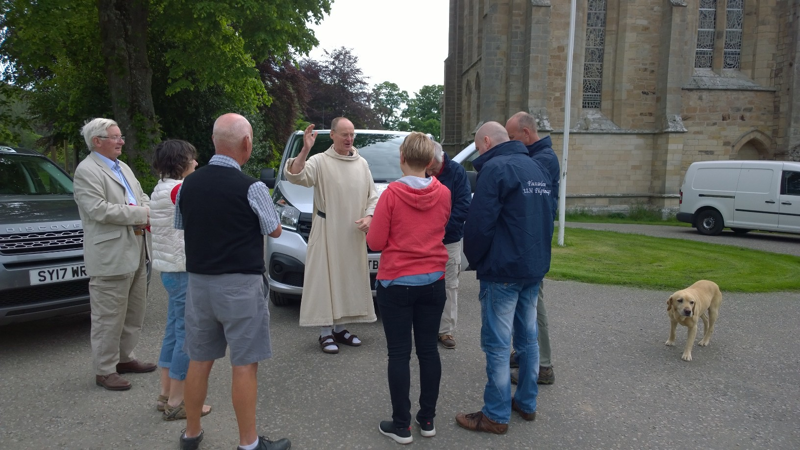 Pluscarden Abbey prior Father Benedict blesses the pilgrims as they depart Moray.
