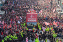 Sunday March 23rd 2014, Aberdeen, Scotland. Thousands of Dons supporters watch an open-top bus carrying the team from Albyn Place, down along Union Street to the Town House.