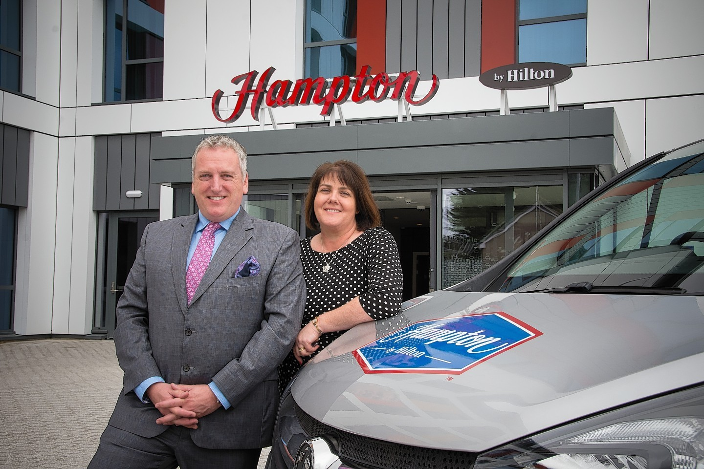 Mike Johnstone, general manager at Hampton by Hilton Aberdeen Westhill, and Sandra Brooks, general manager at Hampton by Hilton Aberdeen Airport