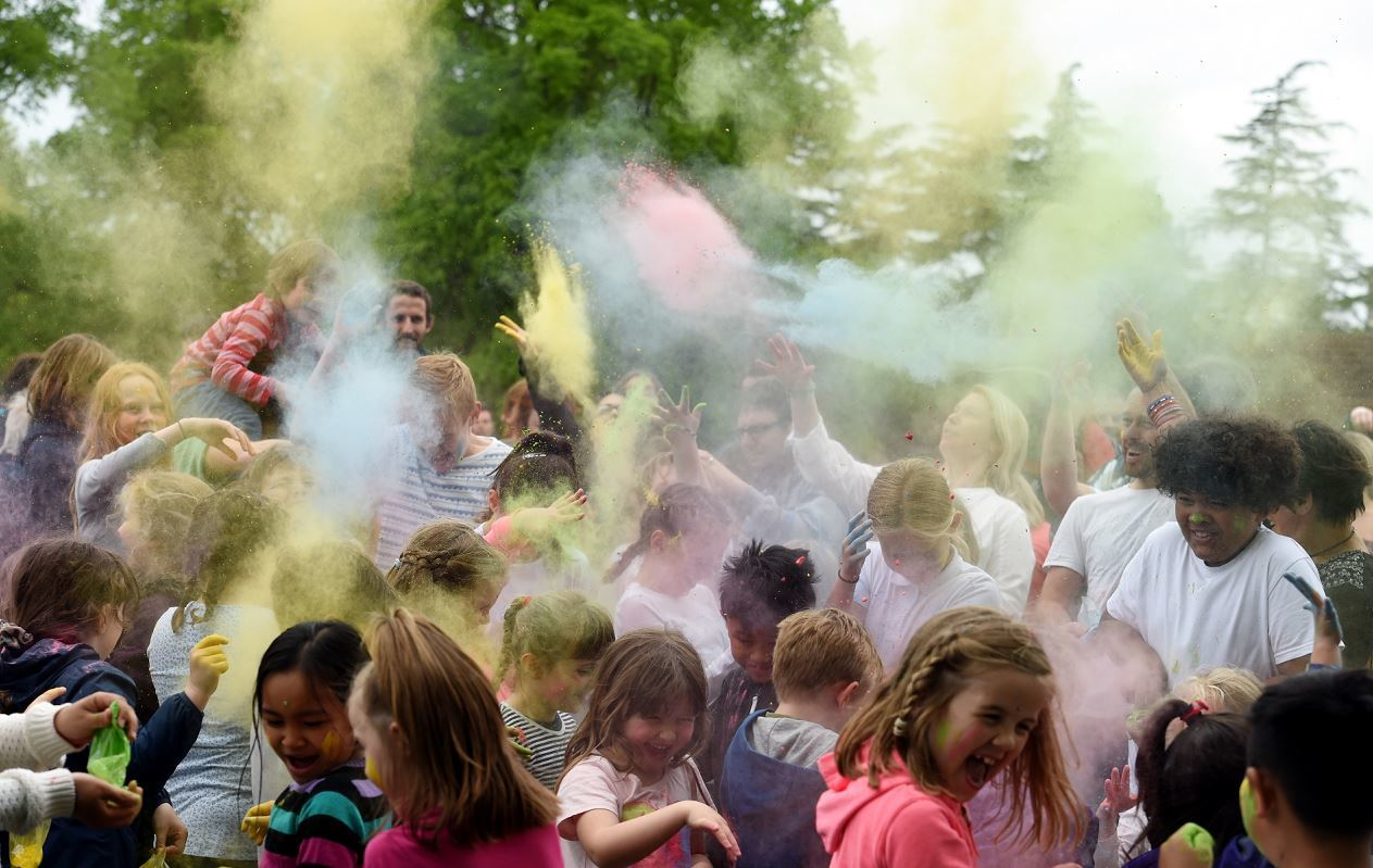 Nobody was safe from the colourful powder in Grant Park.