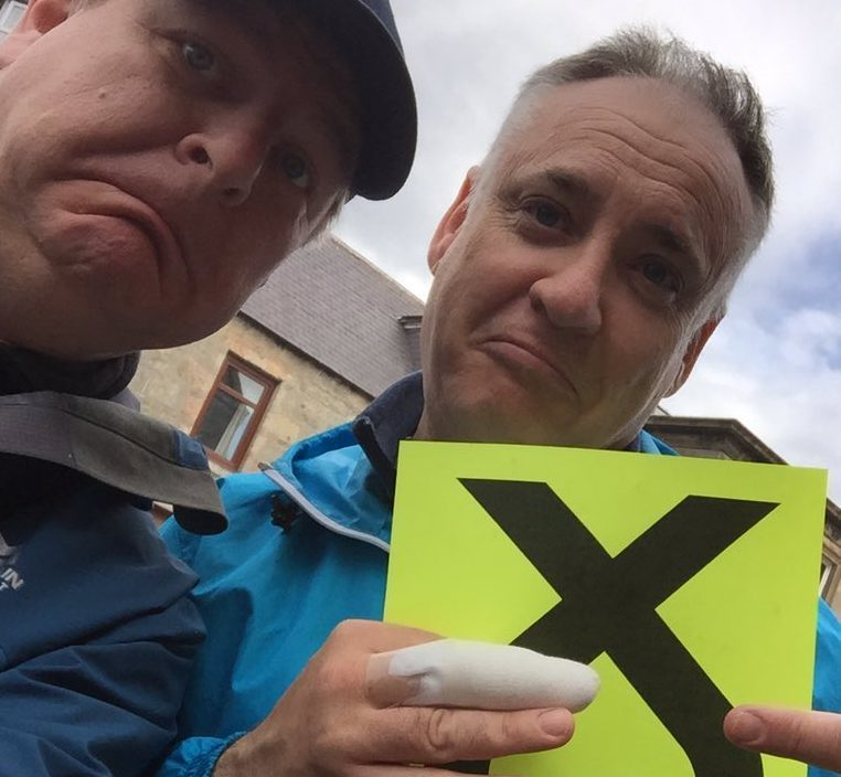 Moray MSP Richard Lochhead, pictured right, received moral support from general election candidate Angus Robertson following the injury.