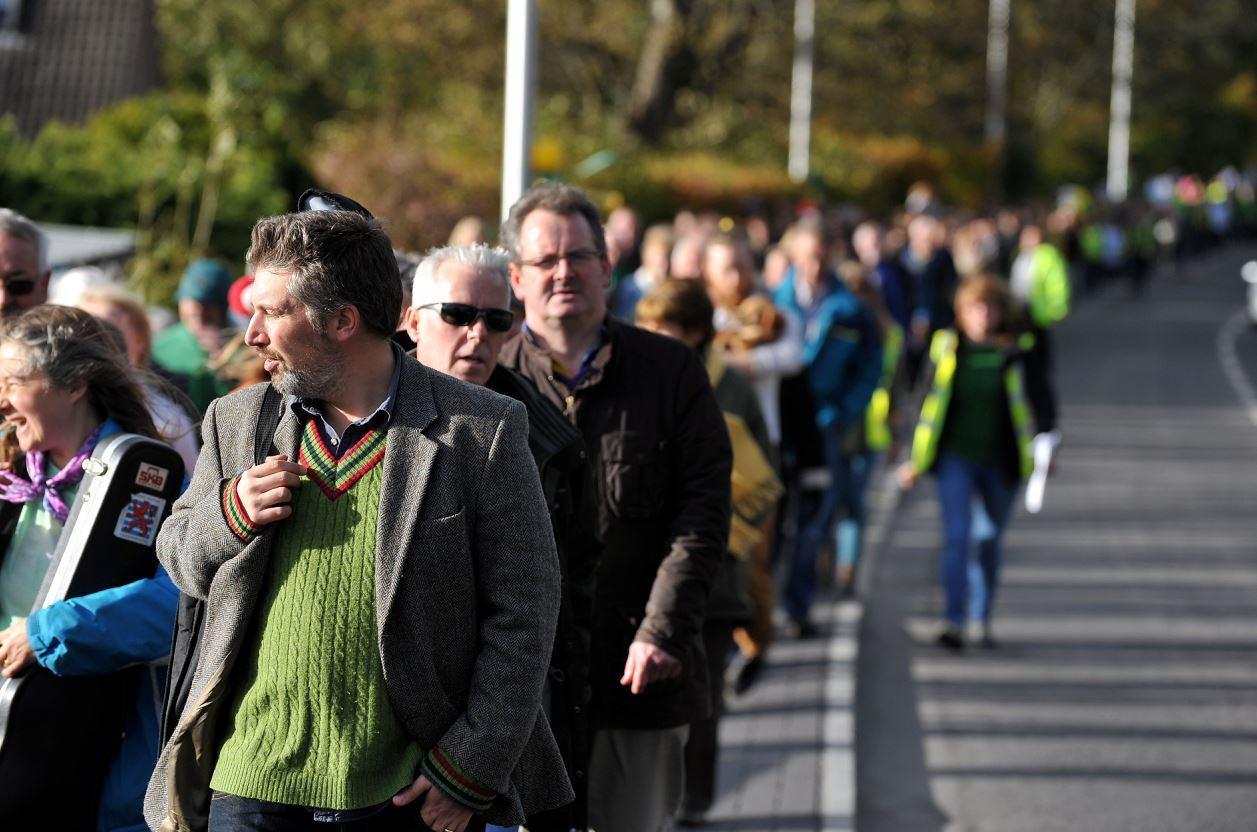 Protesters marched from Spey Bay to Fochabers as part of the campaign to save Milne's High School.