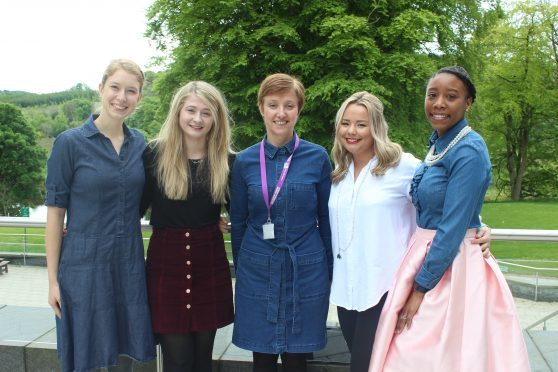 From left to right: Student nurses Amelia Holt and Kimberley Tosh, Robert Gordon University lecturer Jackie Leith and student nurses Chloe Sangster and Celeste Ross.