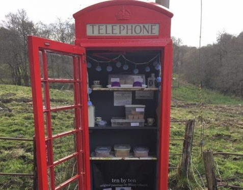 Cakes in a Call Box in the tiny hamlet of Cladich, Argyll