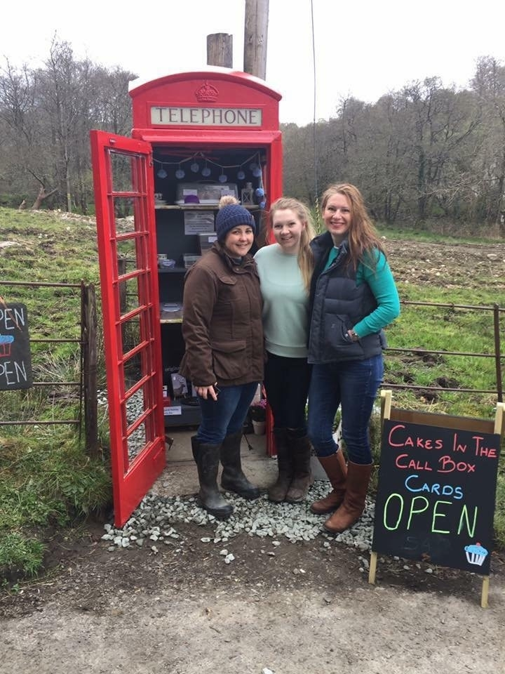L to R the ladies behind Cakes in a Call Box in the tiny hamlet of Cladich, Argyll, Bron Campbell, Holly Ford and Hilary Ollason.