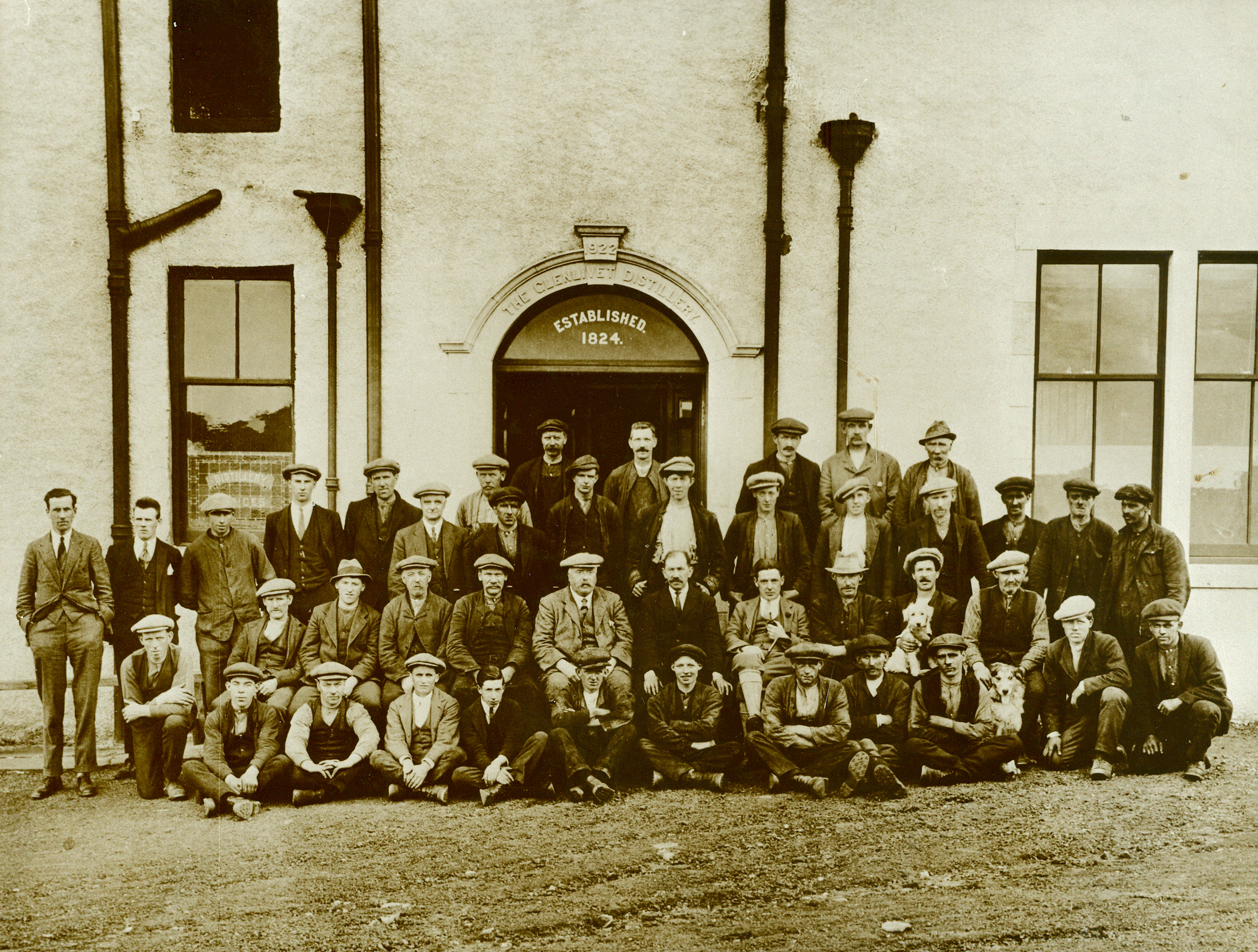 Staff at the Glenlivet Distillery in 1924, photo courtesy of Chivas Brothers archive