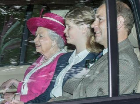 The Queen arrives at Crathie Kirk with granddaughter Lady Louise Windsor and son, Edward Duke of Wessex.