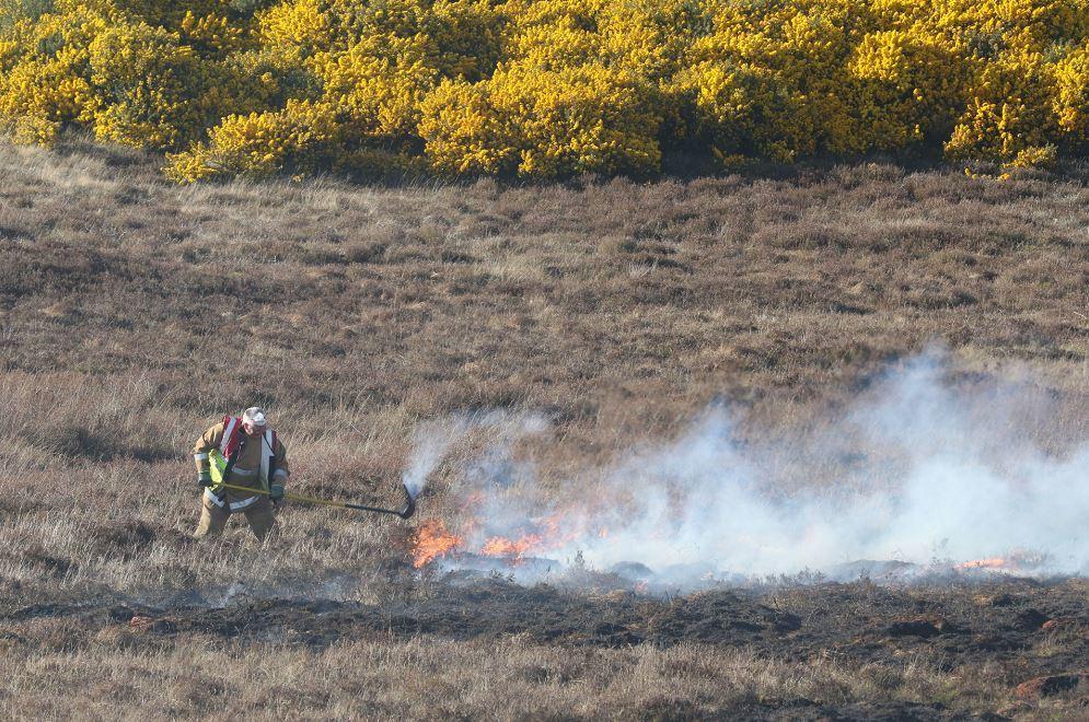 A firefighter battles a blaze in Torbreck, Inverness.