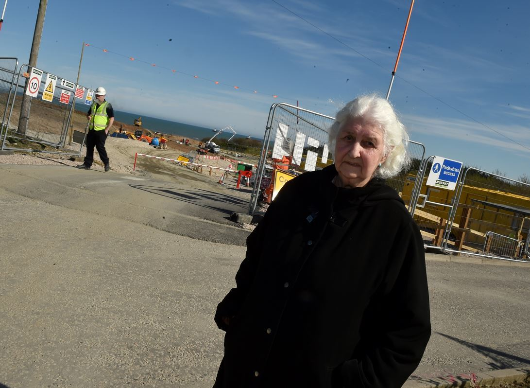 Edna Booth outside the Vattenfall substation works. (Picture: Colin Rennie)