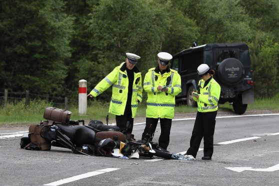 Police on the scene on the A95