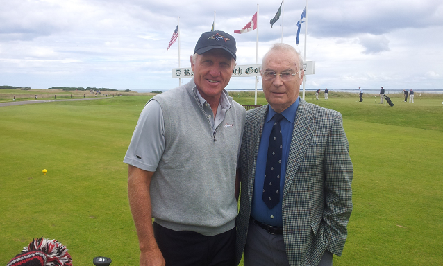 Royal Dornoch president Dennis Bethune with Greg Norman
