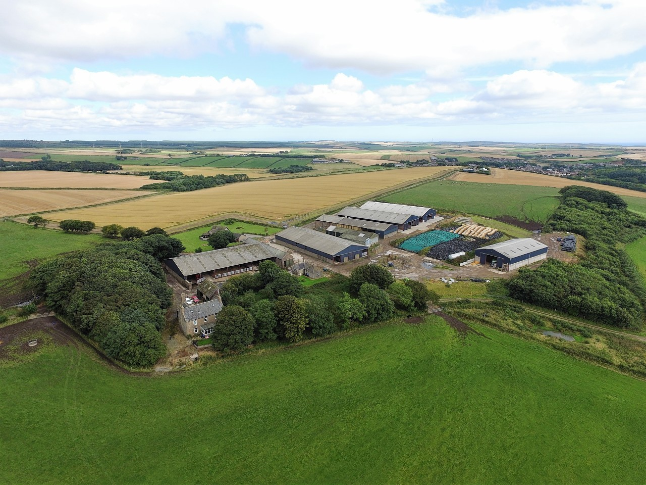 Easter Auquharney Farm from above.