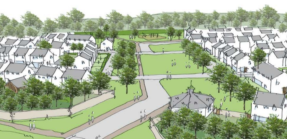 The first phase of plans will include 500 homes and a central corridor of paths.