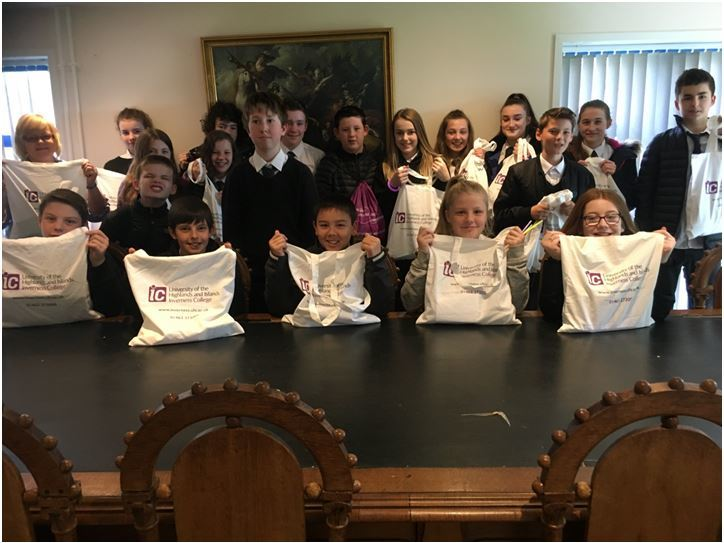 First year pupils at Fortrose Academy with festival bags