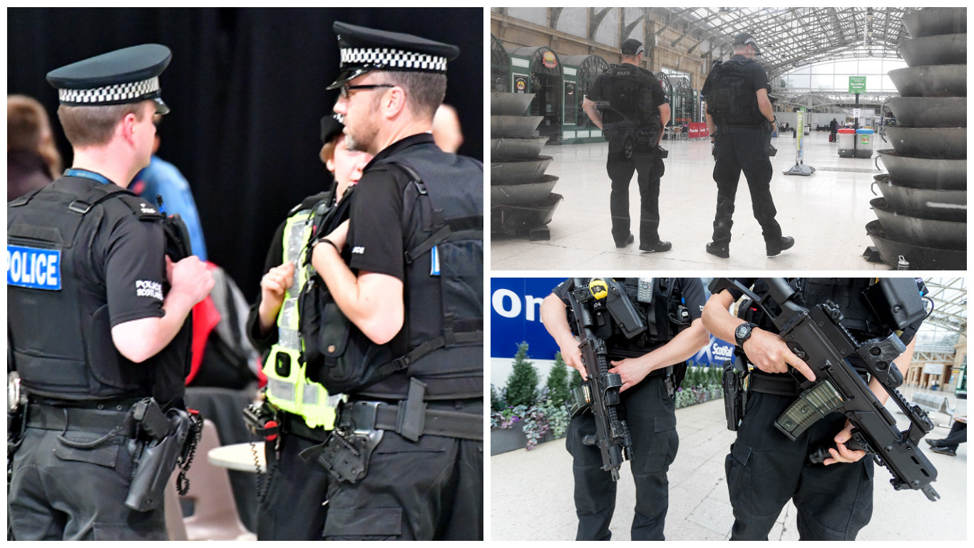 Armed police have been deployed at the AECC (left) and Aberdeen station in recent weeks