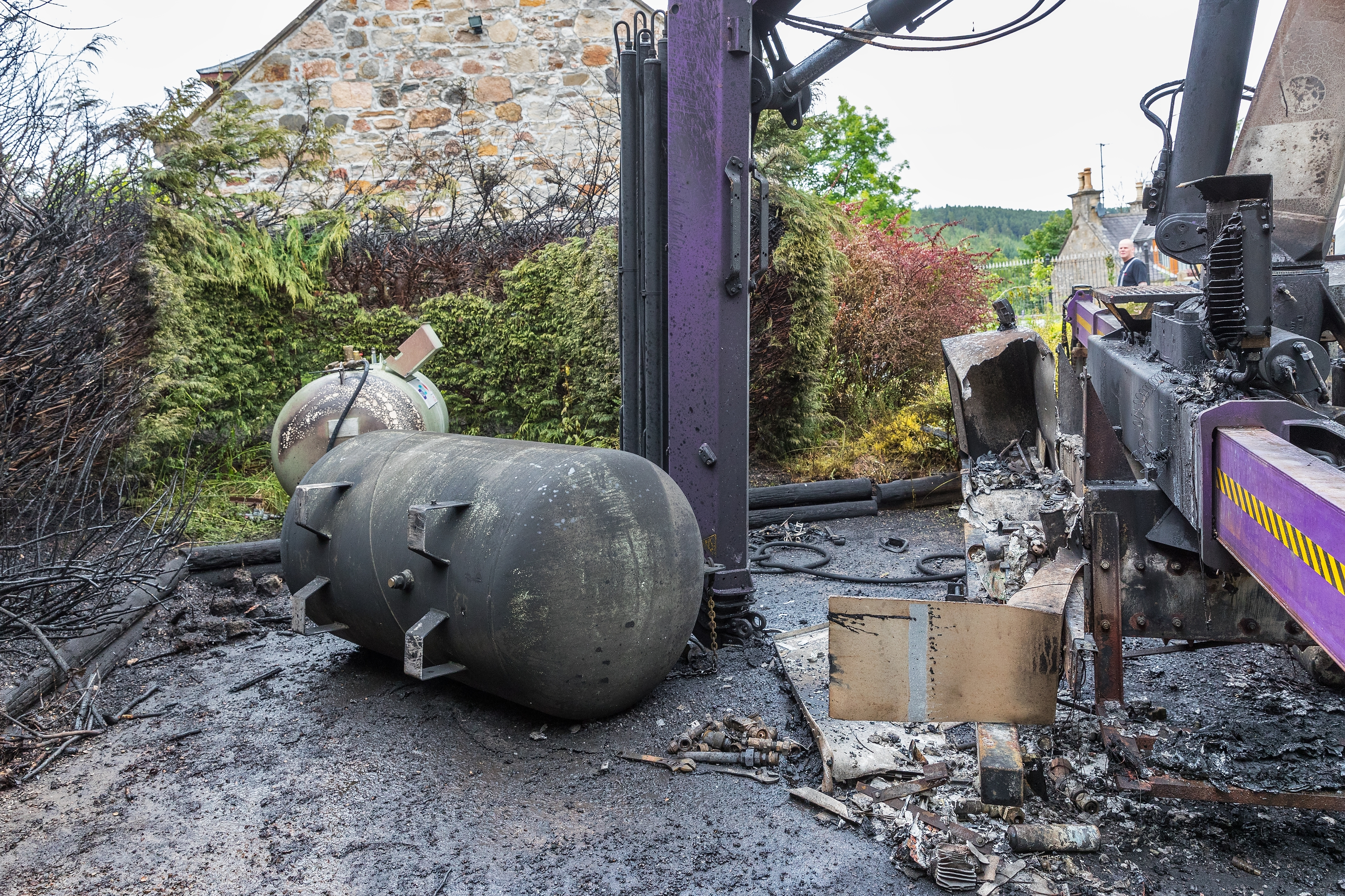 The gas tank where the explosion occurred.
