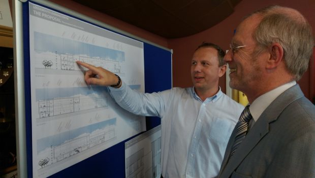 Architect Stewart Davie points out the features of the new school to deputy head teacher Bob Drysdale.