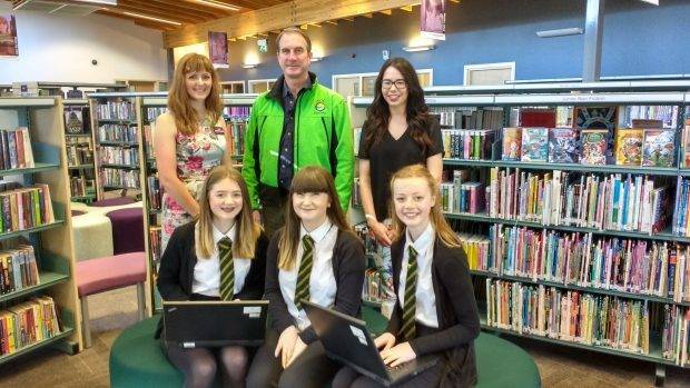 Back row: Jo Robinson, Visit Scotland, Jim Davis, Ace Adventure, Rachel Glennie, Moray Speyside Tourism. Front row: pupils Isla Matthews, Abby Watson, Abby Cant.