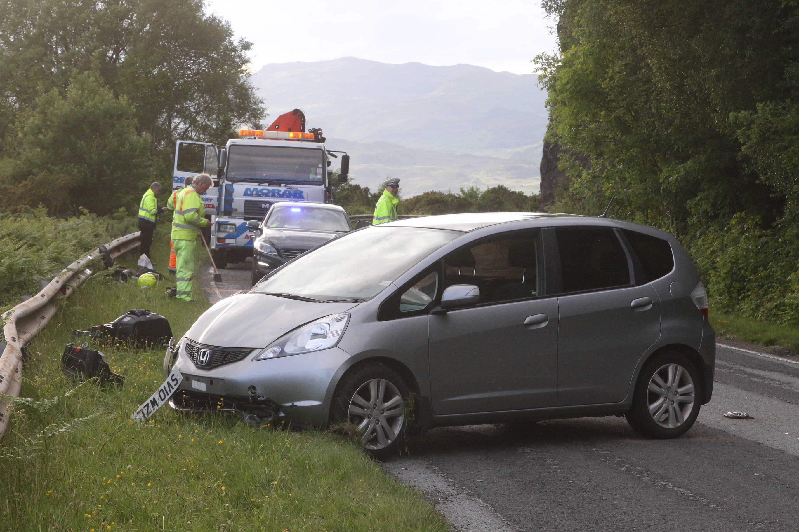 The scene of the accident on the A87