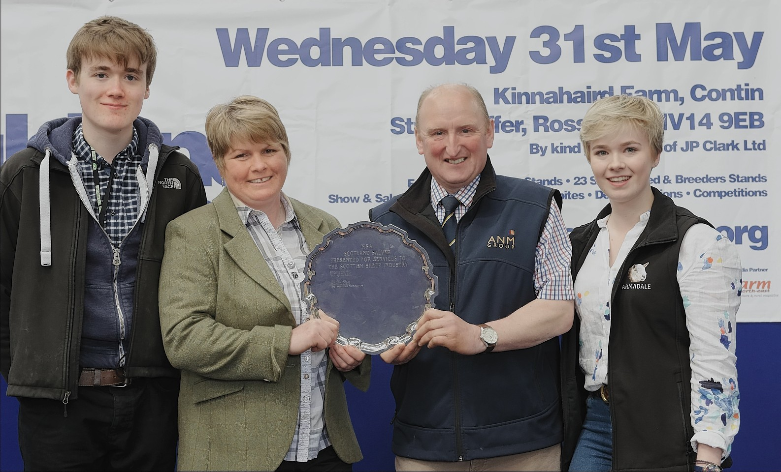 Mure Grant, Joyce Campbell, Ian MacLeay and Frances Grant with the NSA Scotland silver salver.