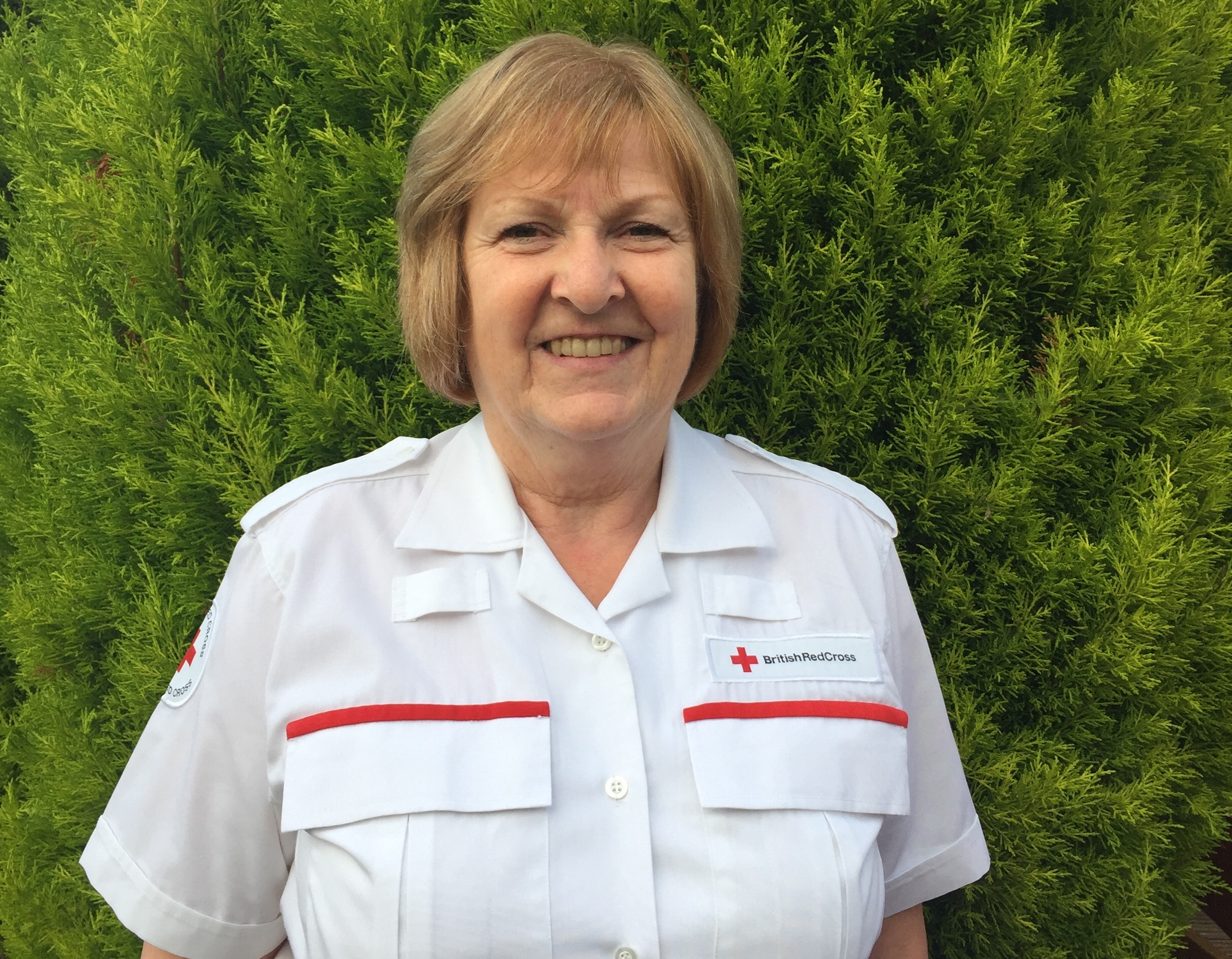 Mari McGowan has been recognised for her years of service with British Red Cross.