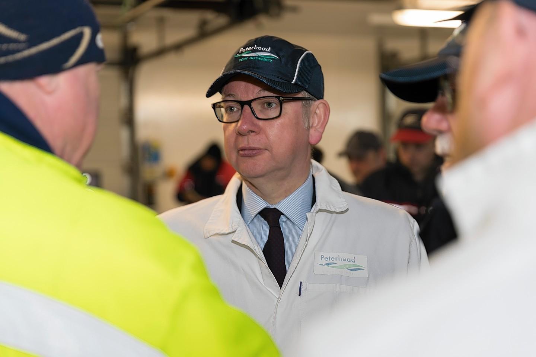Michael Gove at Peterhead fish market
