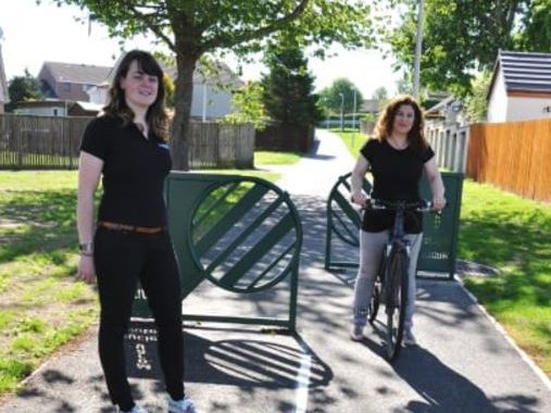 Moray Council transport officer, Katherine Forrest, right, with Sustrans community links officer Aileen Brand on the upgraded path.