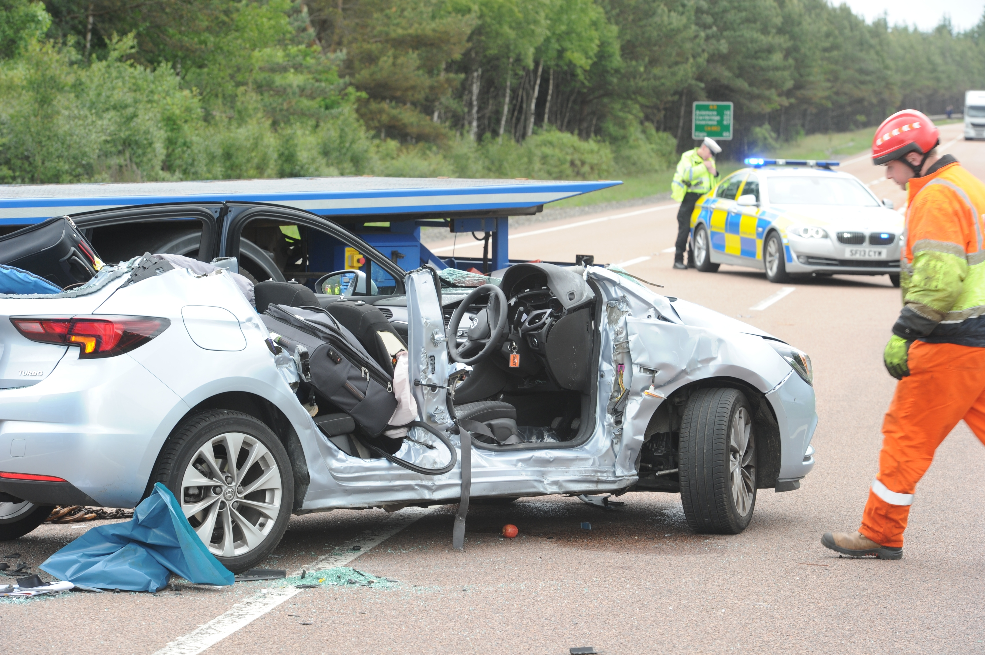 The scene of yesterday afternoon's accident on the A9 at the south Newtonmore junction involving two cars and an articulated lorry.
