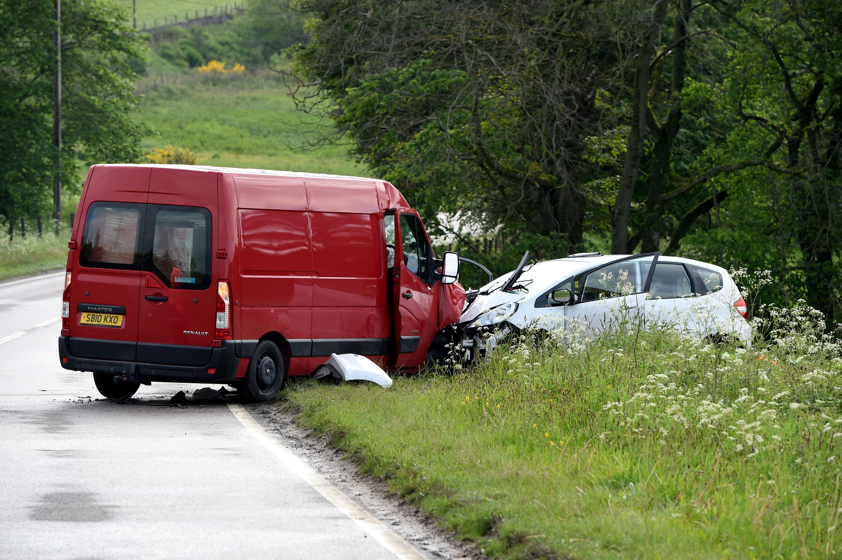 The scene of the collision on the A96