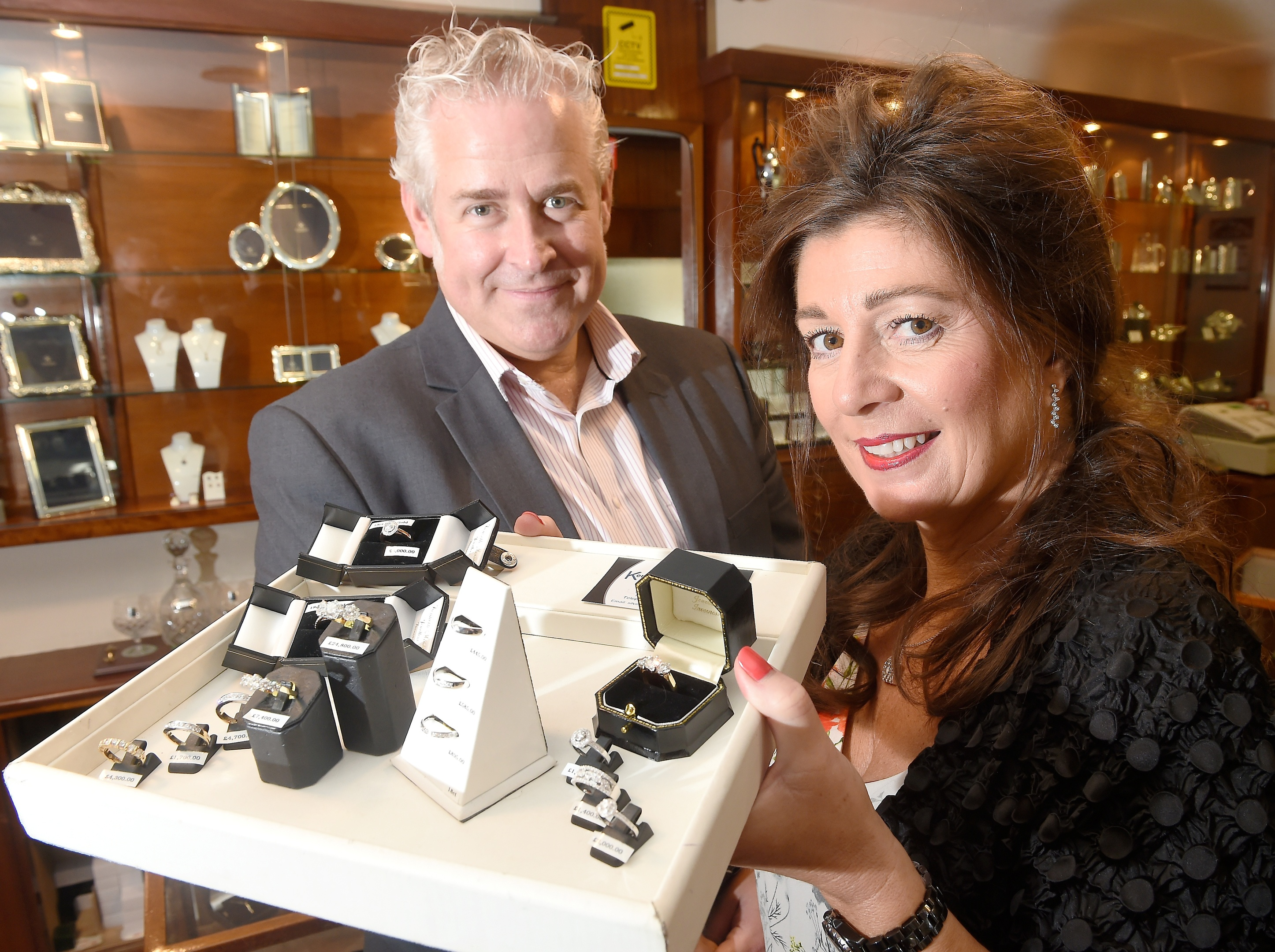 Mark and Denise Wilson in the family business Kenneth Moore Jewellers.