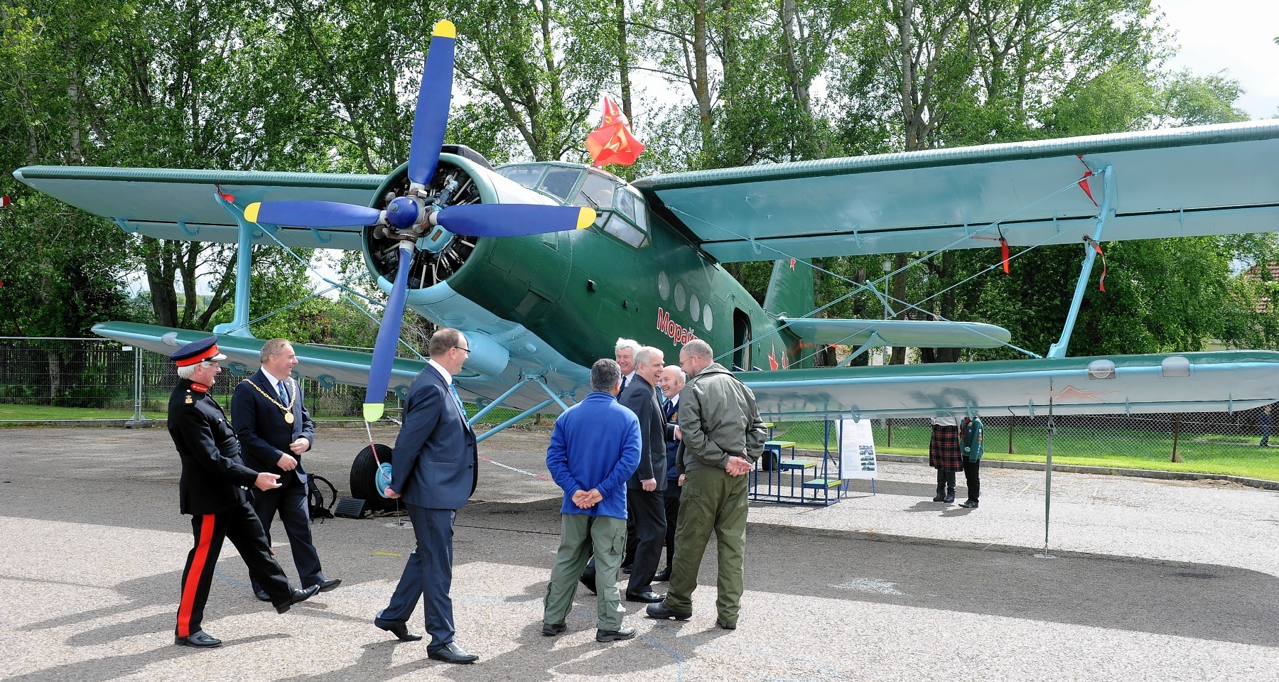 The Duke tours the display of aircraft in the outside display area