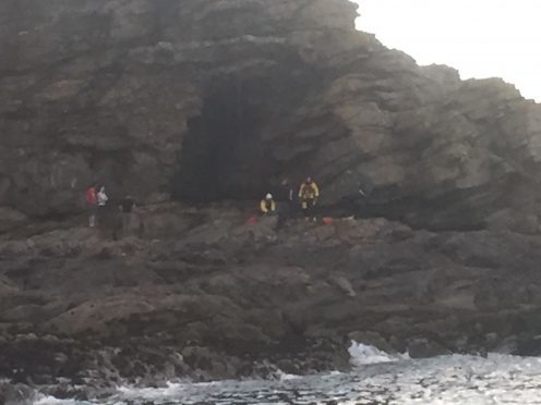 Rescuers at the scene at the Newtonhill cliffs