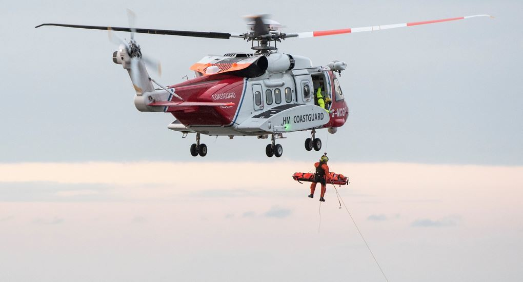 Thomas Hopkins was winched to safety by helicopter. Picture: Helen Crowley Photography.