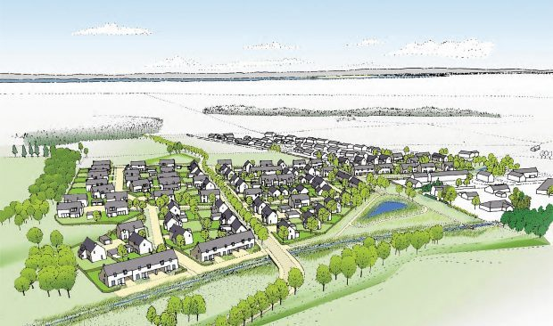 An aerial artists impression of the Croy development
