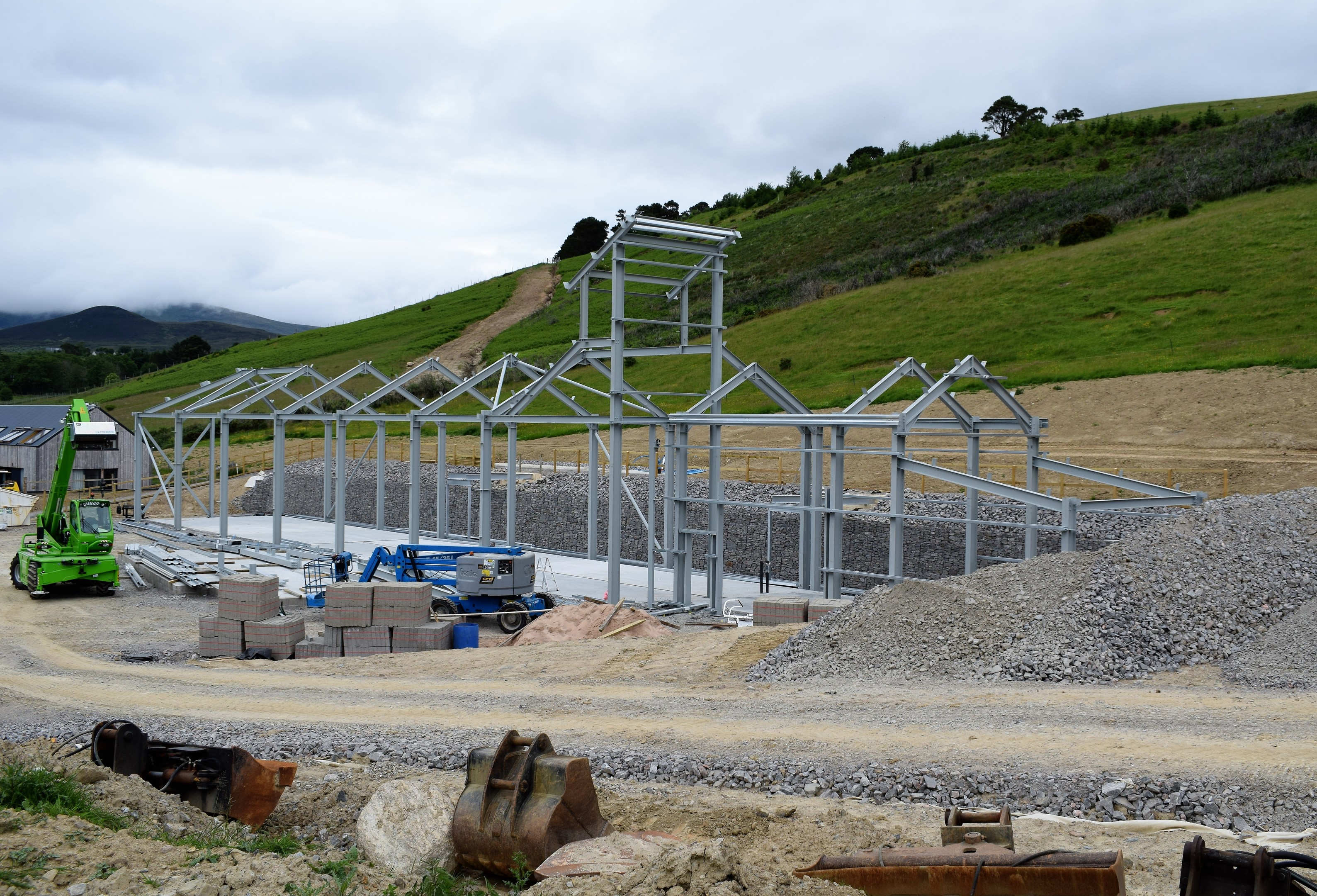 The steel frame of the distillery is now complete