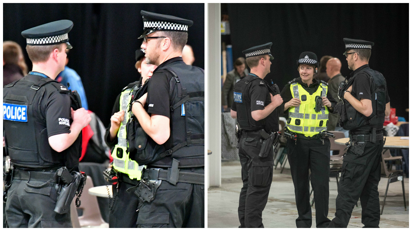 Armed police at the Aberdeen election count