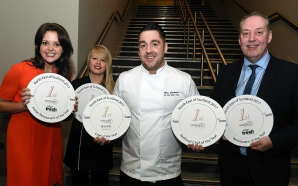 North east of Scotland chef of the year at Meldrum House hotel, Oldmeldrum. In the picture are from left: Stephanie Duncan, hotel restaurant of the year, Marcliffe hotel: young chef, Alix Frost, Entier Ltd: chef of the year, Ross Cochrane, Palm Court and James Forbes, Rothesay Rooms at Ballater, restaurant of the year.