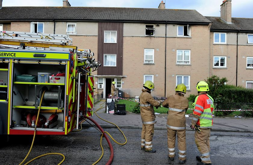 A mother and daughter escaped a flat gutted by fire this evening in Mastrick.