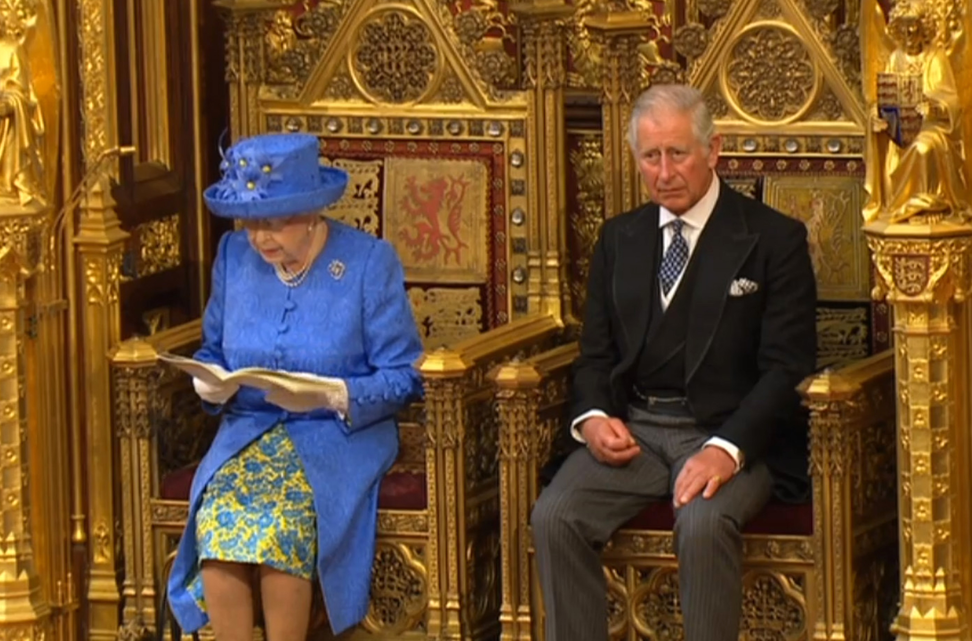 The Prince of Wales and Queen Elizabeth II during Queen's Speech in the House of Lords at the Palace of Westminster in London.