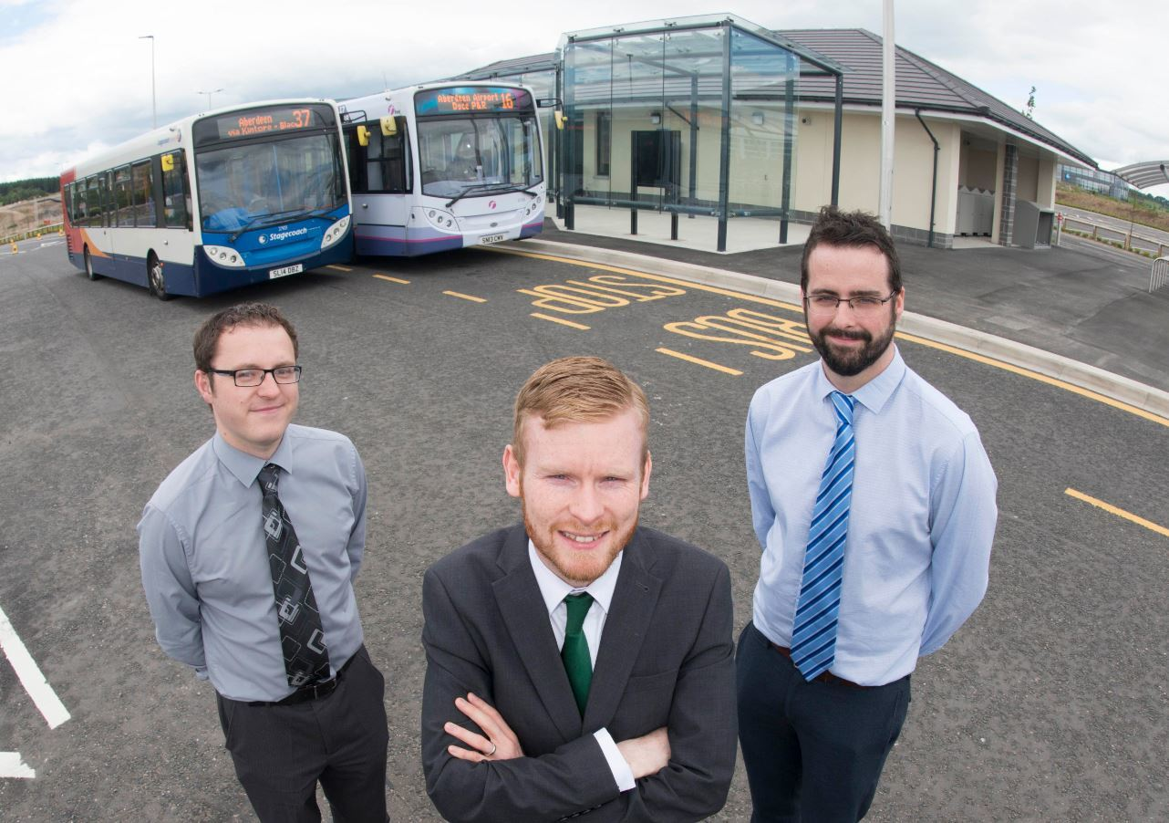 (L-R) Daniel Laird, commercial manager, at First Aberdeen, Councillor Ross Grant and Graeme Leslie, operations director at Stagecoach North East.