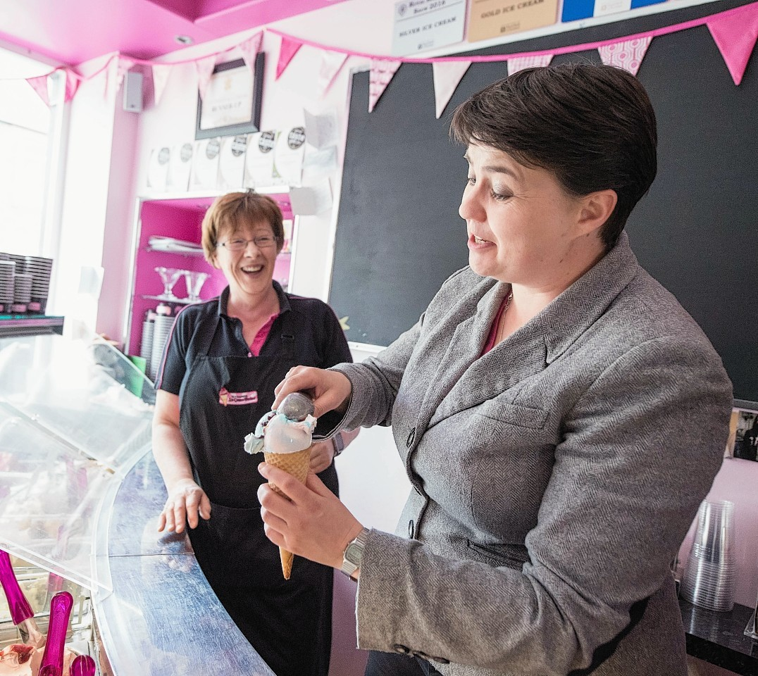 Ruth Davidson behind the counter at Fochabers Ice Cream Parlour.
