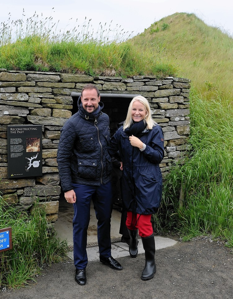 Crown Prince Haakon and Crown Princess Mette-Marit tour Skara Brae during their short visit to Orkney. Picture by Sandy McCook