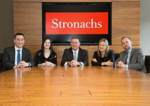 The new Stronachs partners: (L-R) Ross Linn, Jaclyn Russell, David Rennie, Emma Stephen and Bob McDiarmid