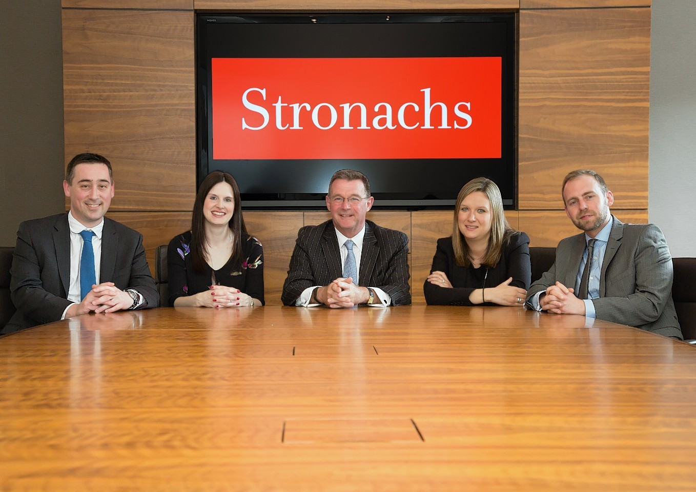 The new Stronachs partners: (L-R) Ross Linn, Jaclyn Russell, David Rennie, Emma Stephen and Bob McDiarmid