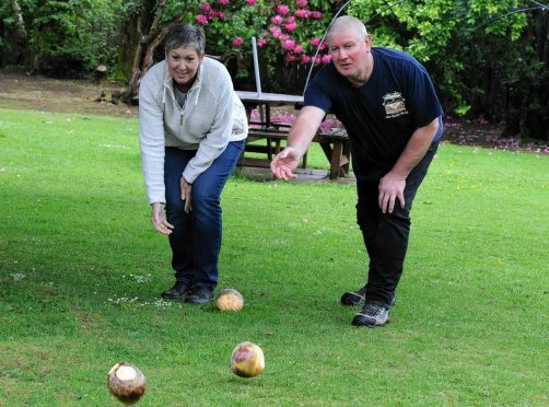In the picture trying it out for this weekend are local residents, Alison Barwell and Kenny McAskill.  Picture by Jim Irvine