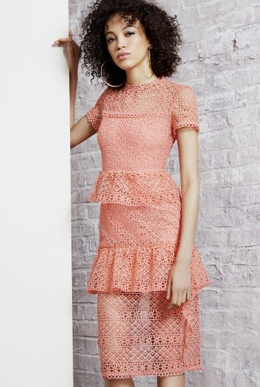 River Island Coral Lace Tiered Frill Midi Dress, currently reduced to £50 from £120 (www.riverisland.com)