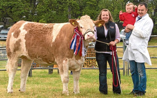 Young exhibitor, one year old Jenson Gunn, with mum and dad, Joanne and Jonathan and his champion of champions Mavsey Golden Pride.